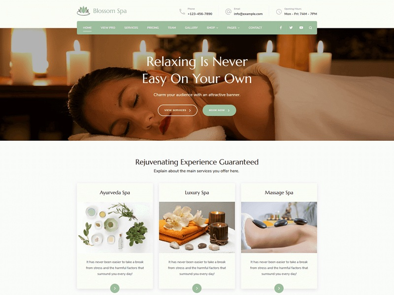 Blossom Spa Free Spa Salon Theme