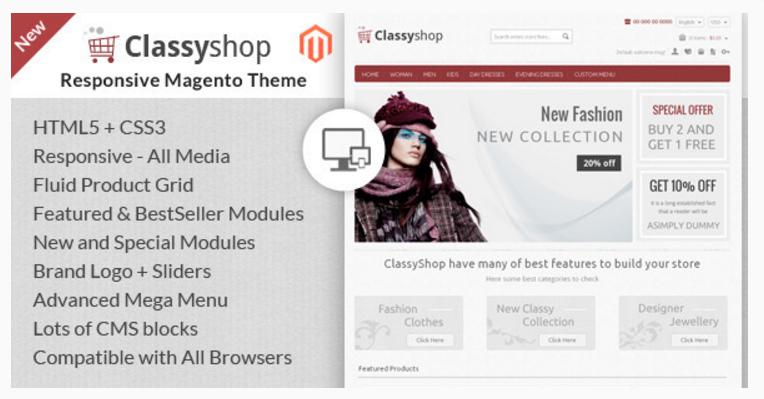 Classy Shop - 47 Best Premium E-commerce Magento Themes 2019