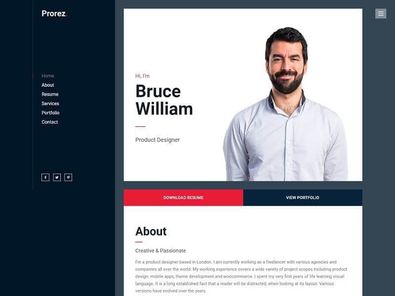 Prorez One Page WordPress Themes