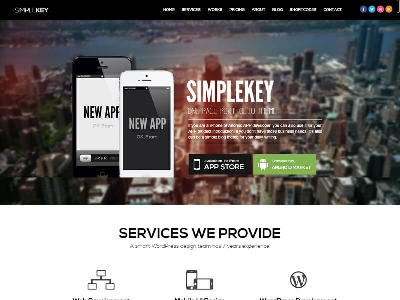 SimpleKey One Page WordPress Themes