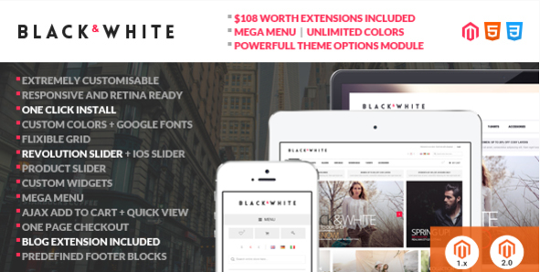 black and white Best Magento Themes