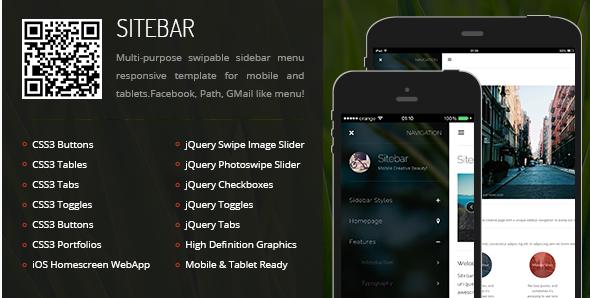 sitebar Best Responsive HTML Templates wpshopmart