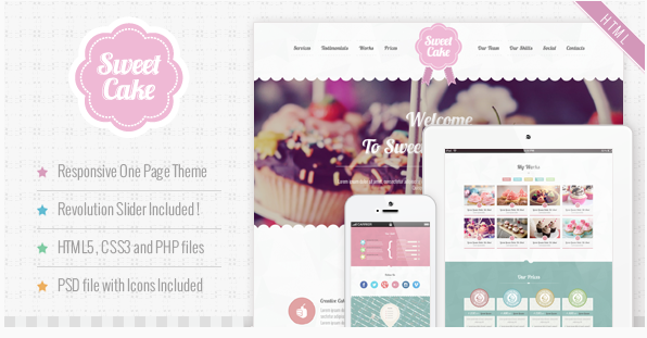 sweet cake Best One Page WordPress Themes