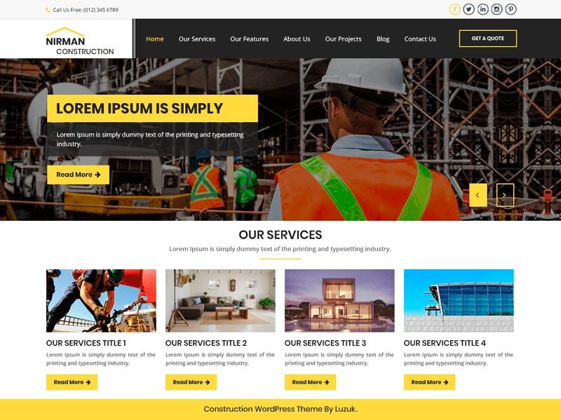 Nirman Construction Free Construction Company WordPress Themes