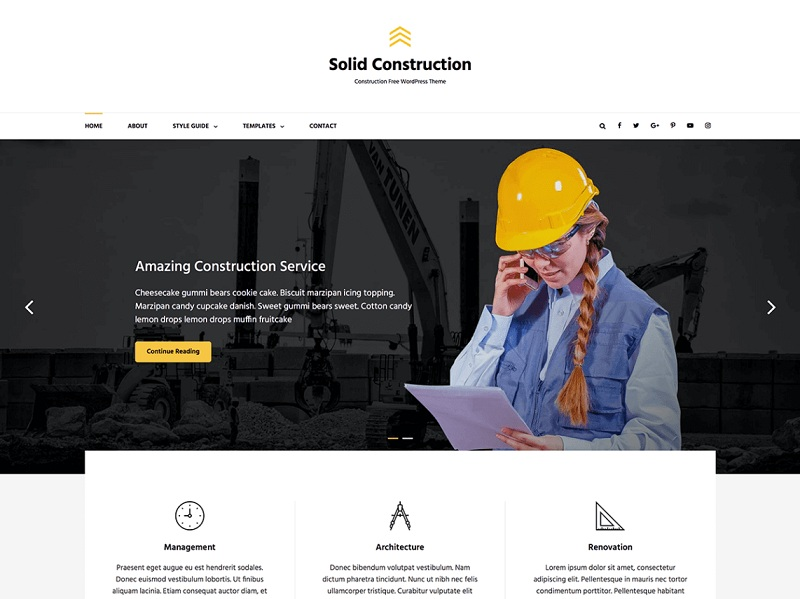 Solid Construction Free Construction Company WordPress Themes