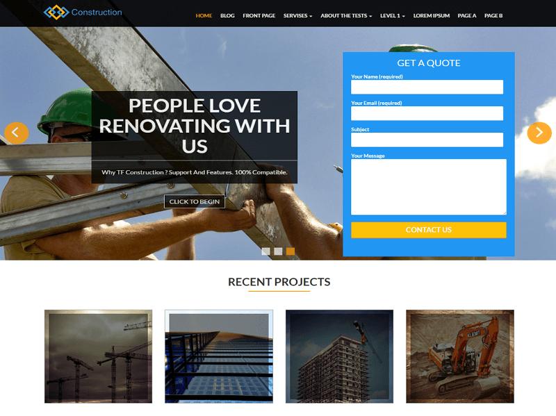 TF Construction Free Construction Company WordPress Themes