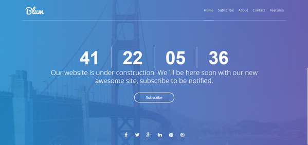 Blum: Best Html Coming Soon And Under Construction Templates