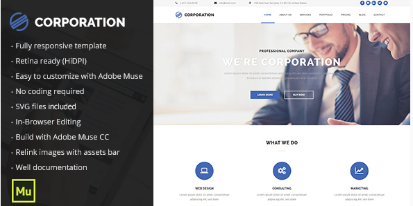 corportation Popular Muse Templates