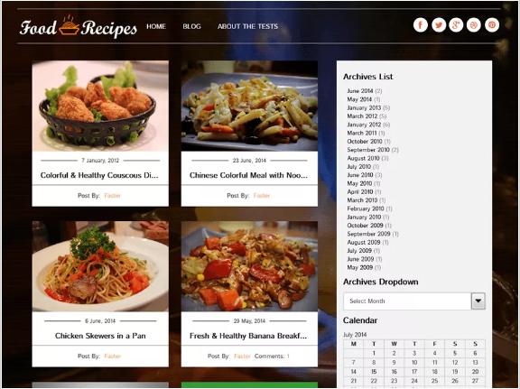 food recipes Best Free Food Themes of WordPress wpshopmart