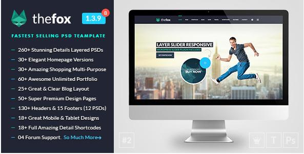 fox PSD Website Templates wpshopmart