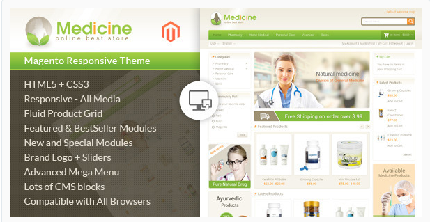 medicine Best Responsive Magento Themes
