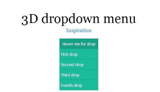 3D Free HTML5 CSS3 jQuery DropDown Menus