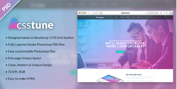 Acsstune - One Page Corporate PSD Template
