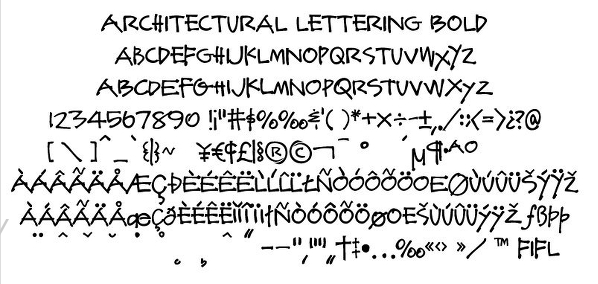 Architectural Lettering Bold Font