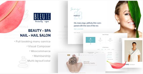 Bleute - WordPress theme Beauty Spa  Hair Salon  Makeup  Hair  Yoga Booking WooCommerce