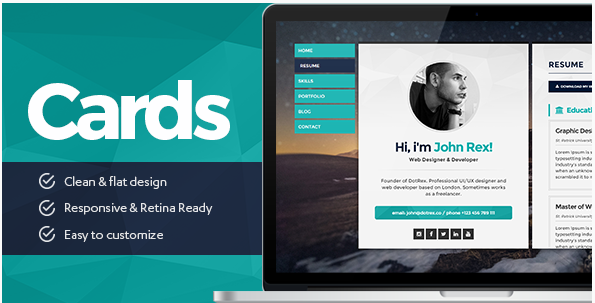 Cards - Personal vCard, Resume CV & Portfolio WordPress Theme