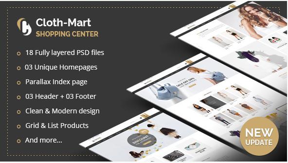 Cloth-Mart Shopping Center PSD Template
