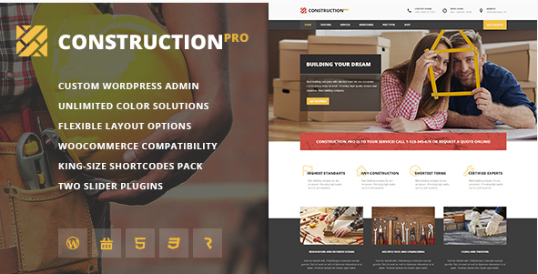 Construction PRO - Building & Renovation Services Construction WordPress Theme