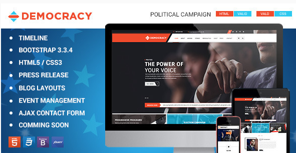 Democracy HTML5 - CSS3 Theme