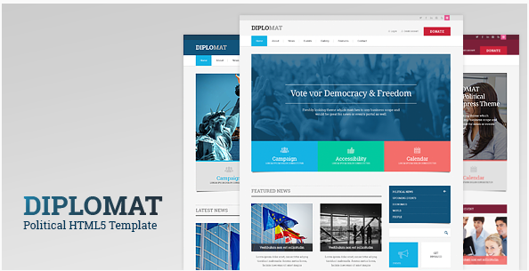 Diplomat Political Responsive Site Template