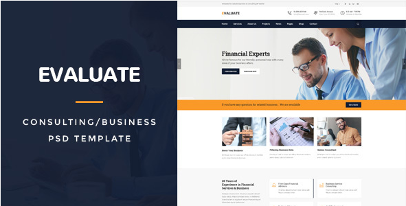 Evaluate  Business Consulting PSD Template