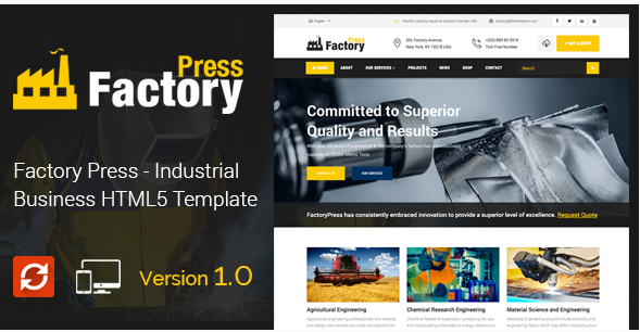 Factory Press - Industrial Business HTML5 Template
