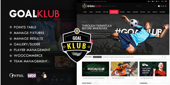 Goal Club Sports & Events WordPress Theme