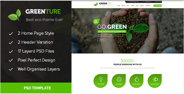 Greenture - Environment - Non-Profit PSD Template