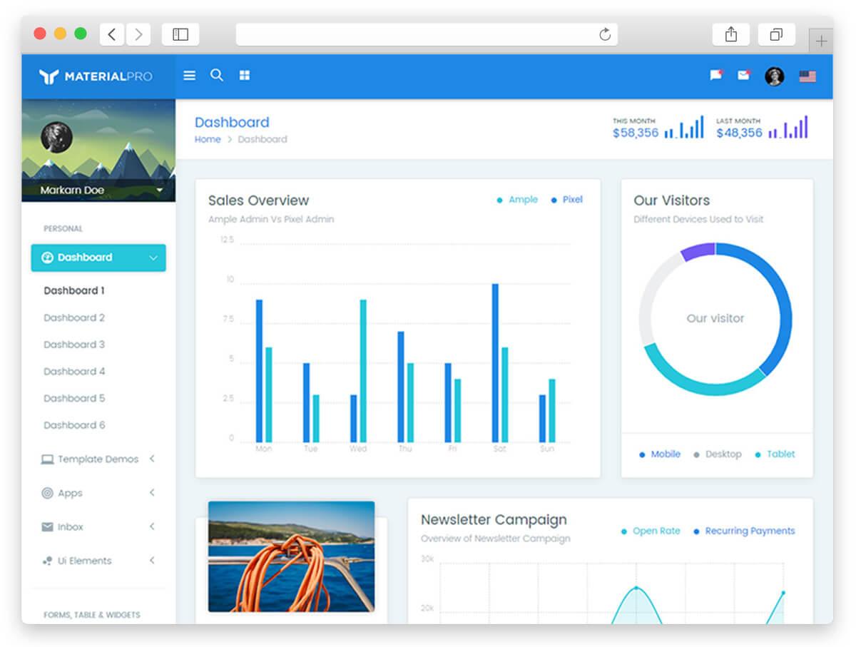 MaterialPro - Bootstrap 4 Admin Template AngularJS Admin Templates