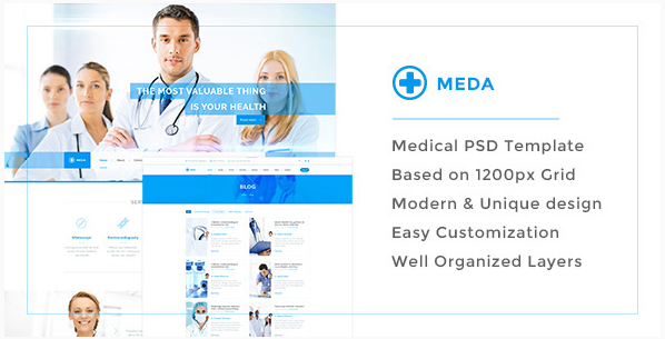 Meda — Responsive Hospital and Health Care PSD Template