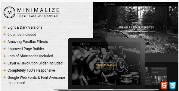 Minimalize  Single Page Theme
