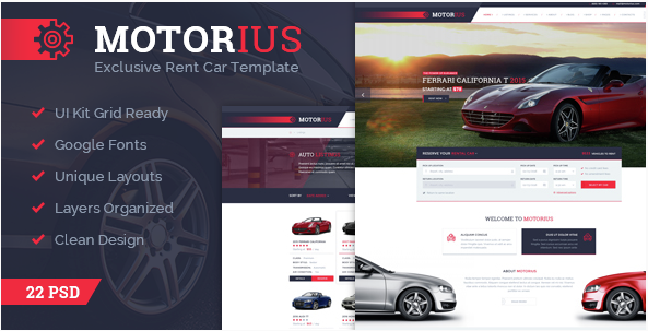 Motorius — Exclusive Sell Rent Cars PSD Template