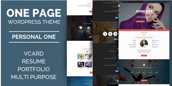 Personal One - OnePage - VCard - WordPress Theme