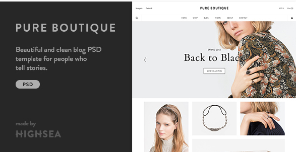 Pure - Accessories WooCommerce PSD Template