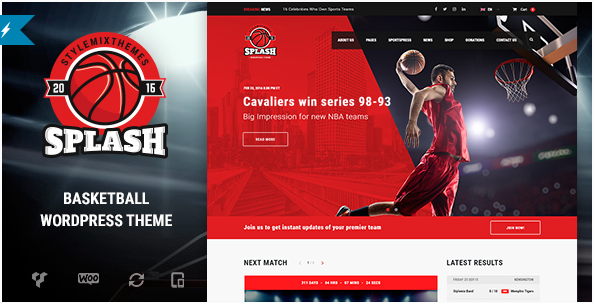 Splash - Basketball, Sports WordPress Theme