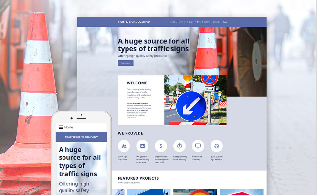 Traffic Signs Company Joomla Template
