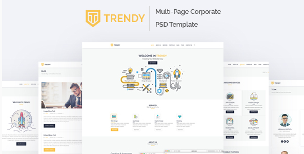 Trendy - MultiPage Corporate PSD Template