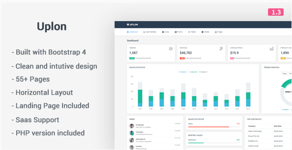 Uplon - Responsive Bootstrap 4 Web App Kit