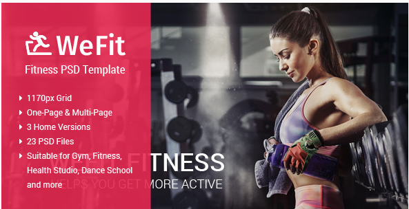 WeFit  Health & Fitness PSD Template