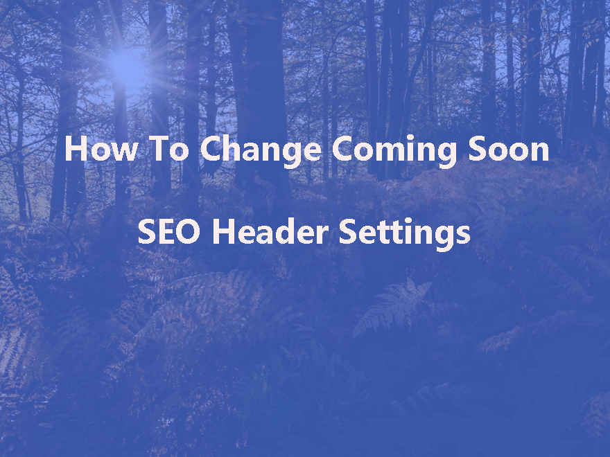 How To Change wpshopmart Coming Soon Pro Plugin SEO Header Settings
