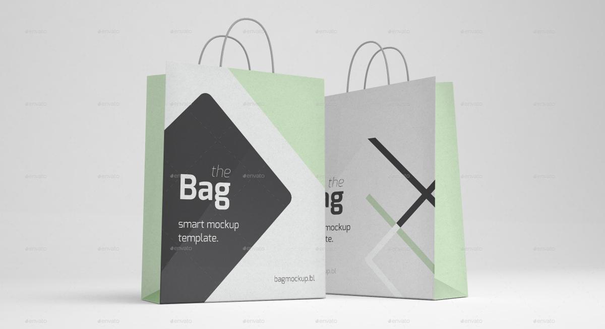 5 Shopping Bags Mockup
