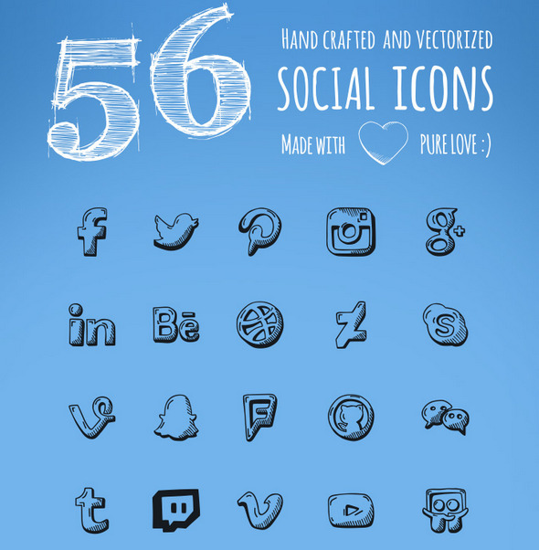 56 Hand Drawn social icons