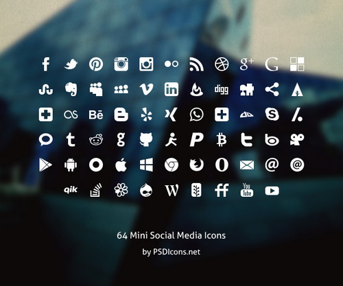 64 Mini Social Icons Set