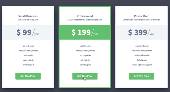 Appon Pricing Tables