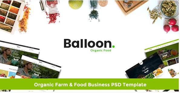 Balloon Organic Farm & Food Business PSD Template
