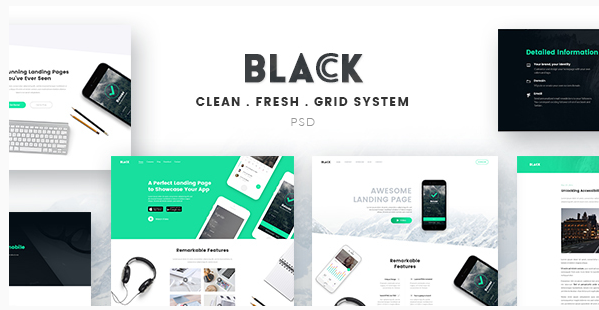 Black - Landing Page PSD Template
