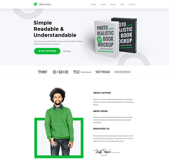 Book Landing Page Concept