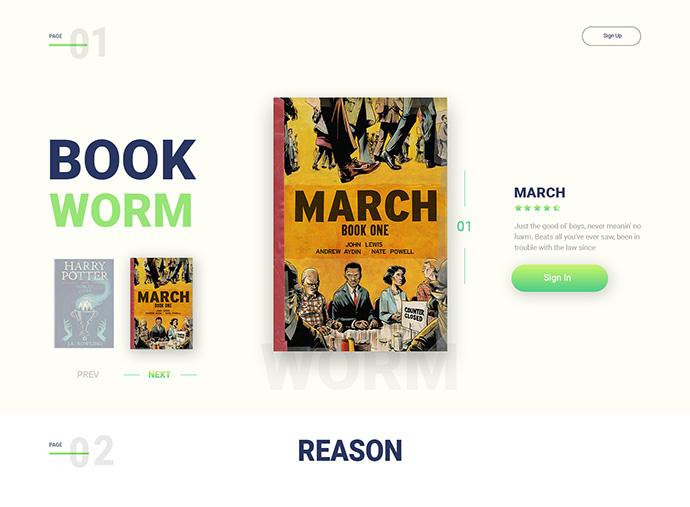 Book Worm – landing page design
