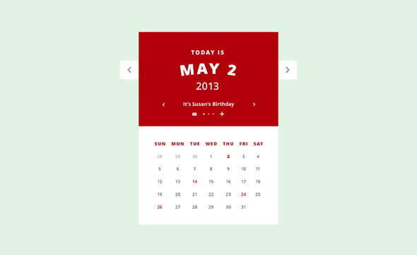Calendar UI – Animated GIF + PSD