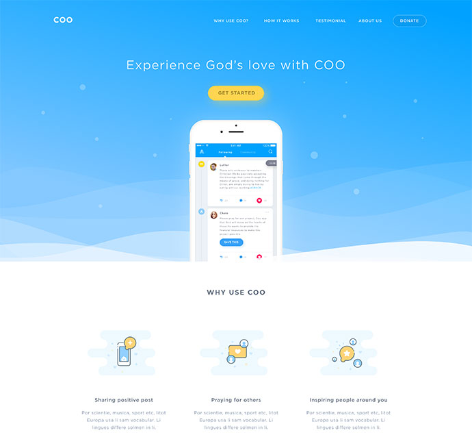 Coo Social Network Landing Page